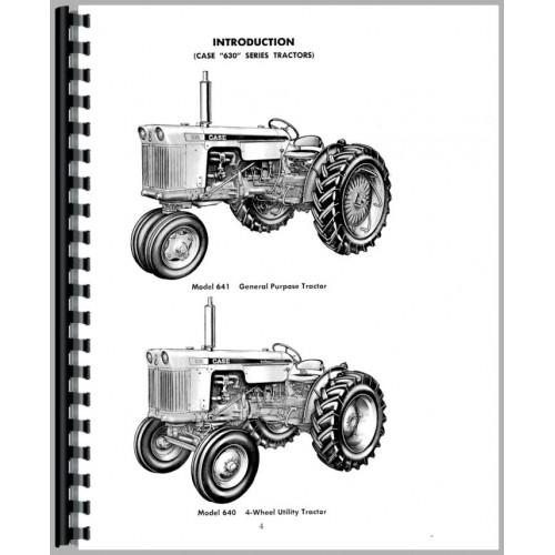 Case 630 Tractor Operators Manual