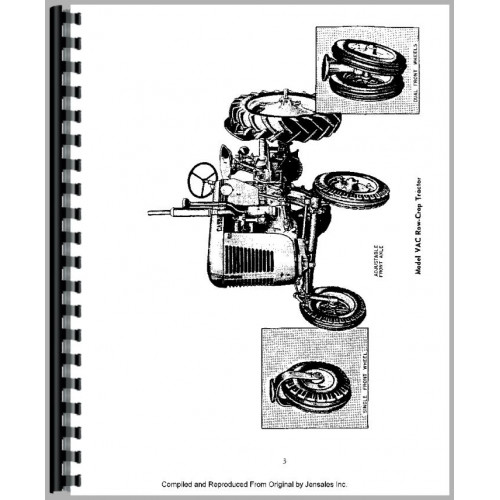 Case VAC Tractor Operators Manual (w/ Worm Gear Steering