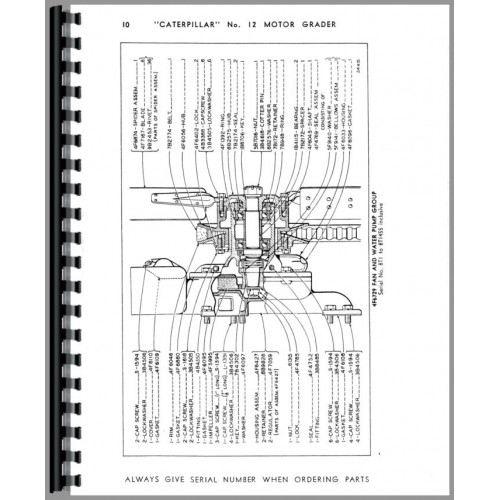 Caterpillar 12 Grader Parts Manual (SN# 8T1-8T14781) (8T1