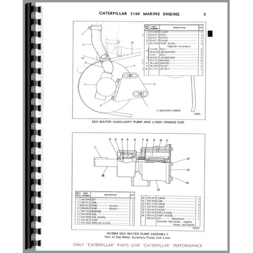 Caterpillar 3160 Engine Parts Manual (SN# 68P1)