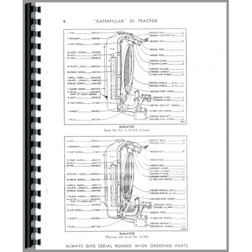 Caterpillar D2 Crawler Parts Manual (SN# 5J1-5J1863) (5J1