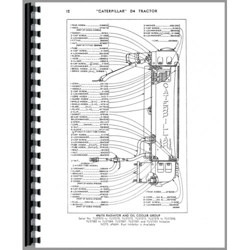 Caterpillar D4 Crawler Parts Manual (SN# 7U27570-7U44307
