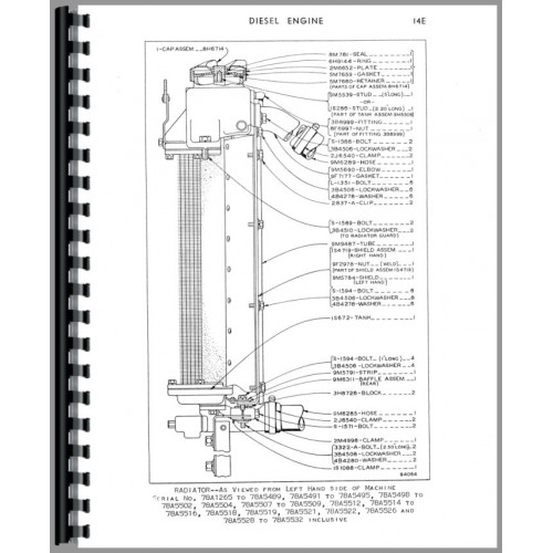 Caterpillar D4D Crawler Parts Manual (SN# 78A1) (78A1 Only)