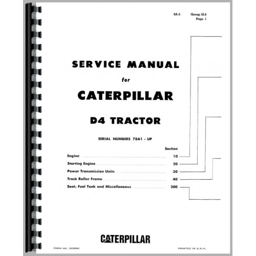 Caterpillar D4D Crawler Service Manual (SN# 78A1 and Up
