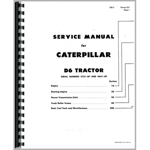 Caterpillar D6B Crawler Service Manual (SN# 37A1 and Up