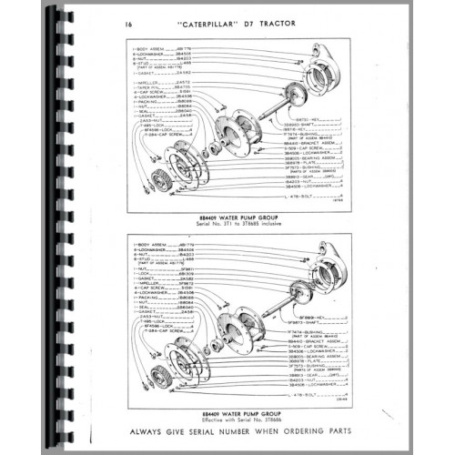 Caterpillar D7 Crawler Parts Manual (SN# 3T1-3T19999) (3T1