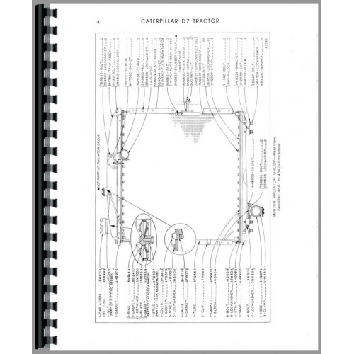 Caterpillar D7E Crawler Parts Manual (SN# 48A1-48A6392
