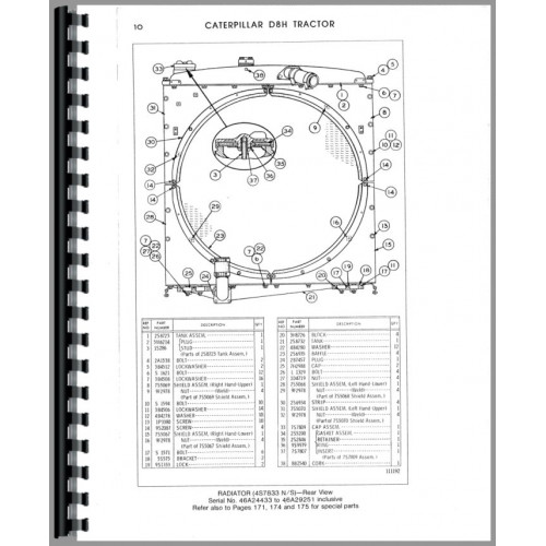 Caterpillar D8H Crawler Parts Manual (SN# 46A24433 and Up