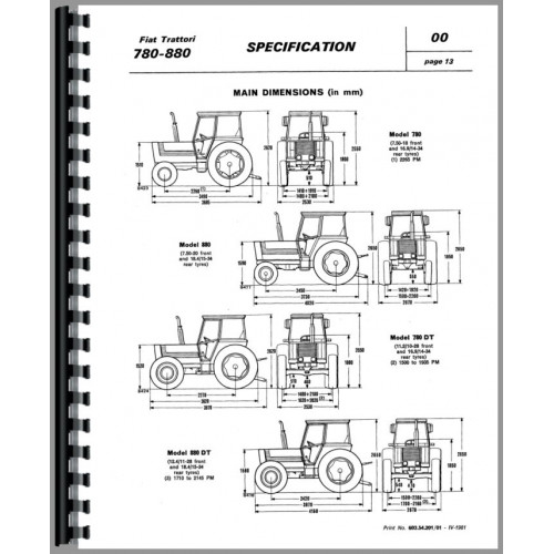 Fiat 880 Tractor Service Manual