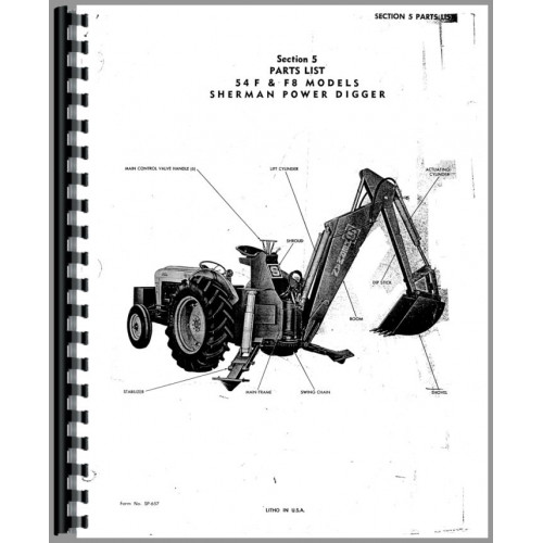 Ford 54F Sherman 54F Backhoe Attachment Parts Manual