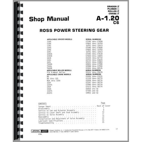 Galion T-500A Grader Service Manual (SN# 02601-07994