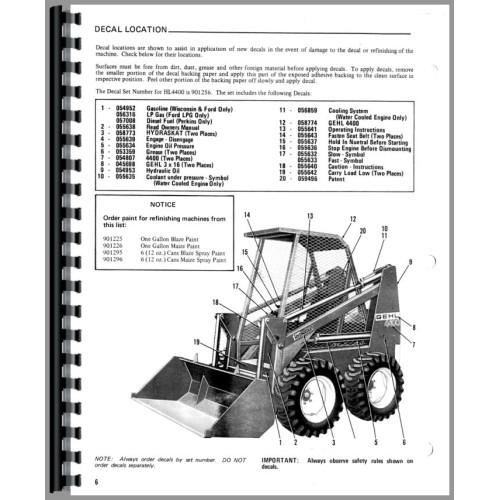 Gehl HL4400 Skid Steer Loader Service Manual