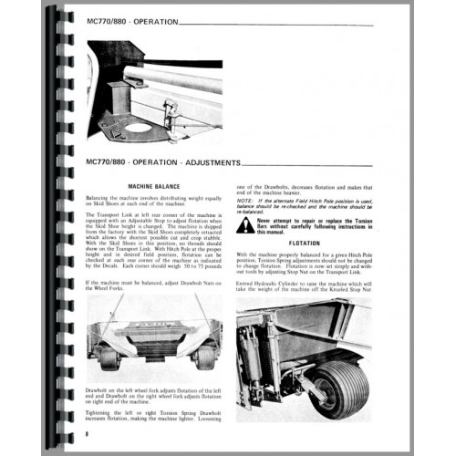 Gehl MC770 Mower Conditioner Operators Manual
