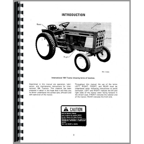 International Harvester 184 Cub Lo-Boy Tractor Operators