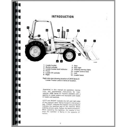 International Harvester 2400B Industrial Tractor Operators