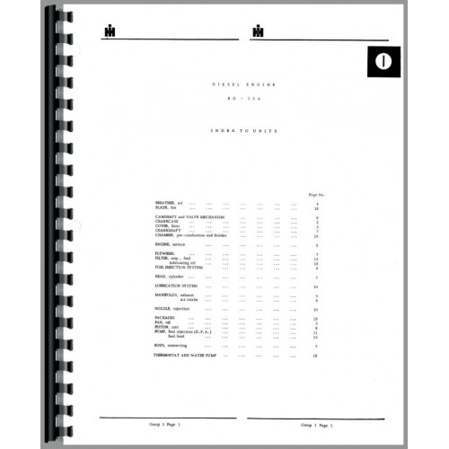 International Harvester 434 Tractor Parts Manual