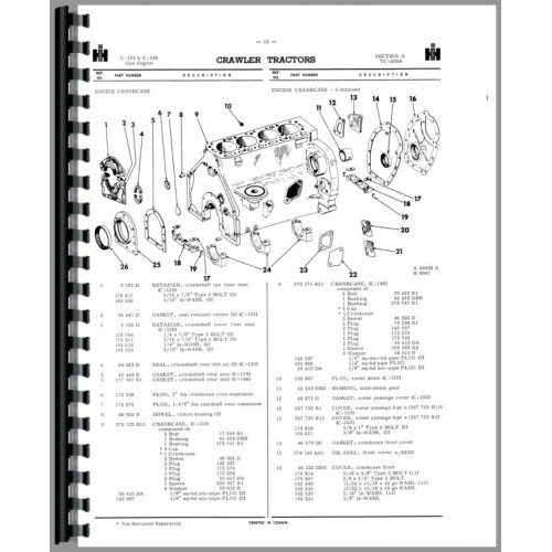International Harvester 500 Crawler Parts Manual