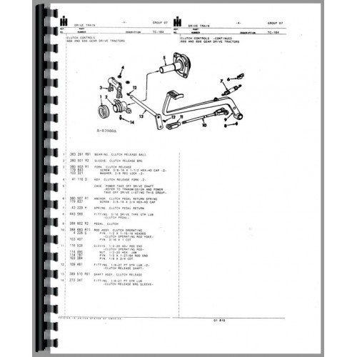 International Harvester 86 Hydro Tractor Parts Manual