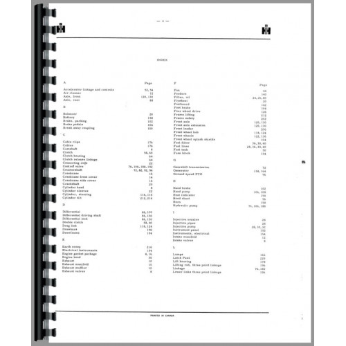 International Harvester 624 Tractor Parts Manual