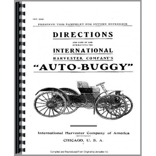 International Harvester Auto Buggy Operators Manual