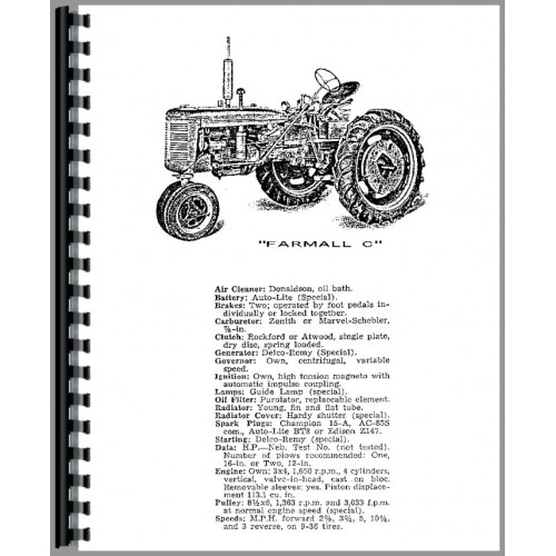 Farmall C Tractor Operators Manual