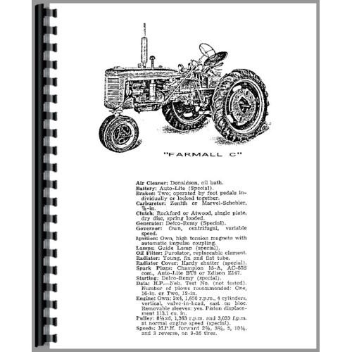 Farmall C Tractor Operators Manual