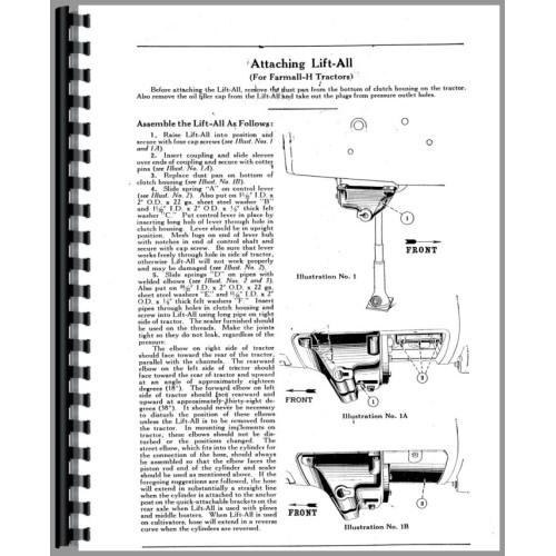 Farmall M Tractor Hydraulic Lift-All Operators Manual (All