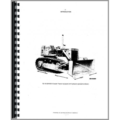 International Harvester TD15B Crawler Parts Manual (Diesel)