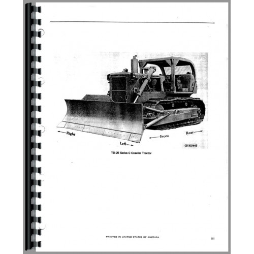International Harvester TD25C Crawler Parts Manual (Chassis)