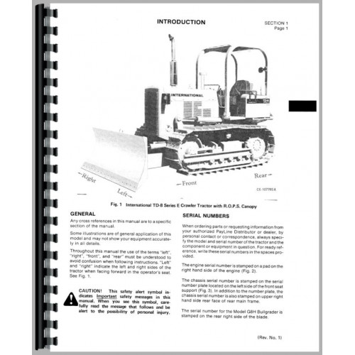 International Harvester TD8E Crawler Operators Manual