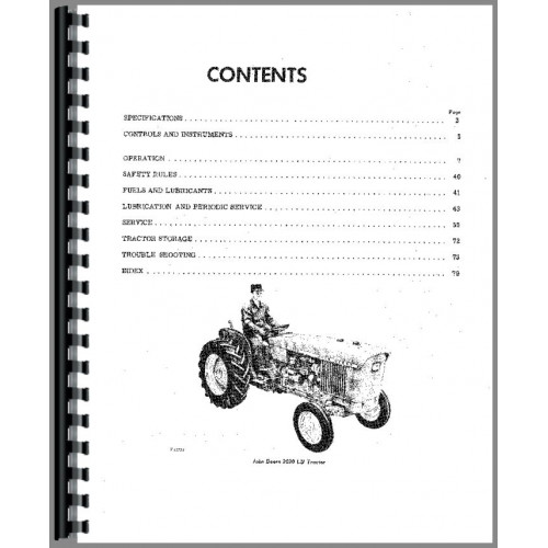 John Deere 1020 Tractor Operators Manual (SN# 0-62783)