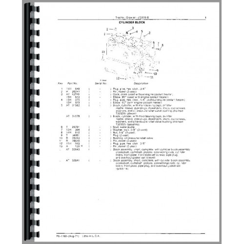 John Deere 350B Crawler Parts Manual