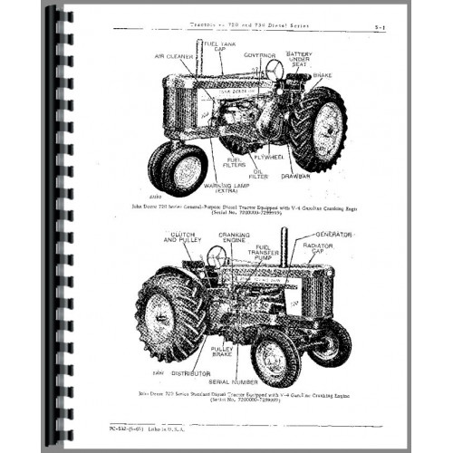 John Deere 730 Tractor Parts Manual (w/ 24 Volt Elec Start)