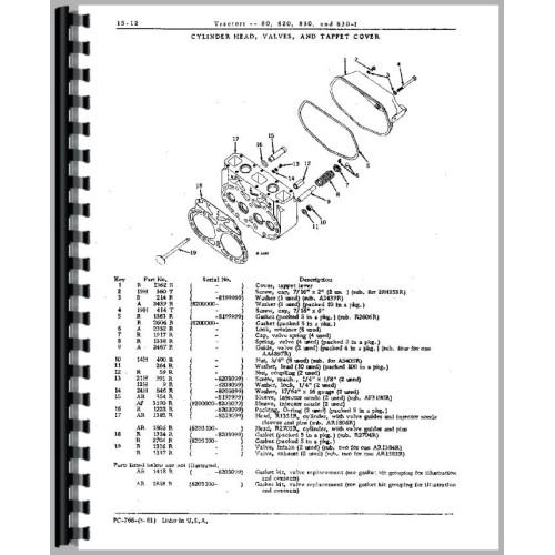 John Deere 820 Tractor Parts Manual