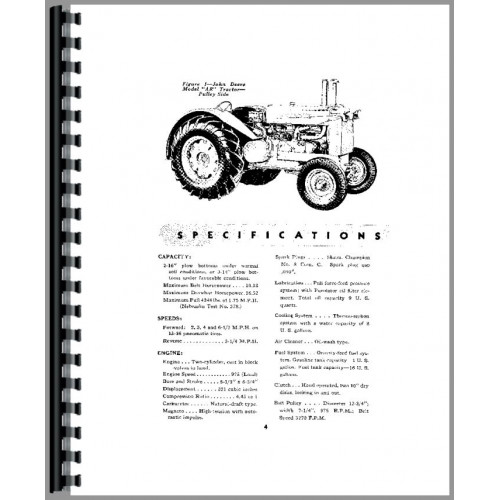 John Deere AR Tractor Operators Manual