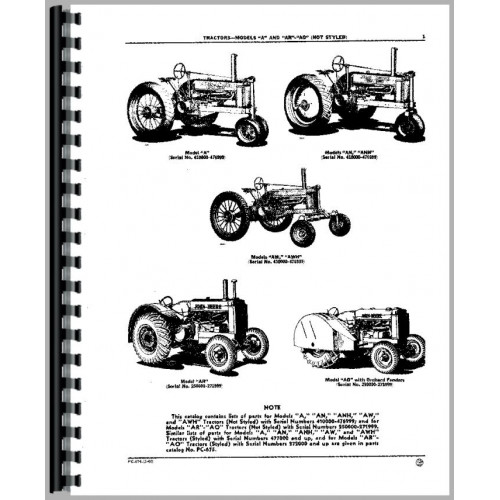 John Deere AR Tractor Parts Manual