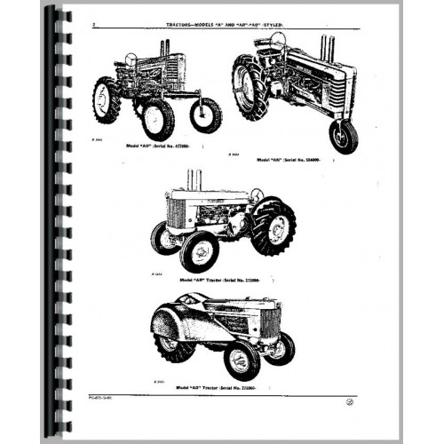 John Deere A Tractor Parts Manual (1934-1952, SN# 477000