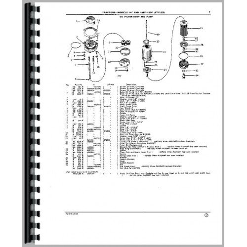 John Deere AR Tractor Parts Manual (1949-1953, SN# 272000