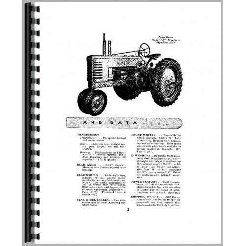 John Deere B Tractor Operators Manual (SN# 60000-200999)