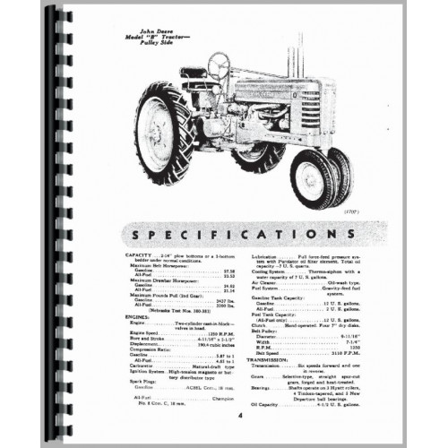 John Deere B Tractor Operators Manual (SN# 201000 and Up
