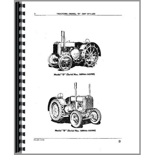 John Deere D Tractor Parts Manual