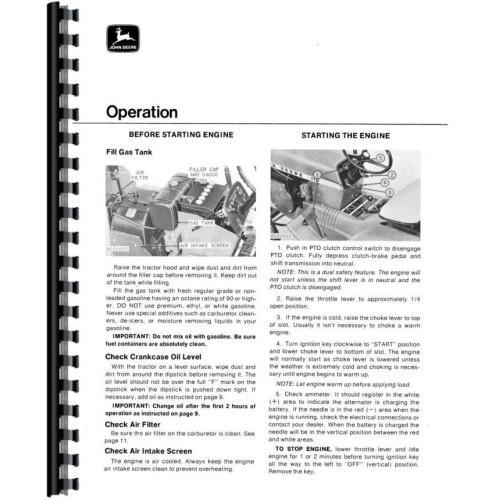 John Deere 112 Lawn & Garden Tractor Operators Manual (Sn