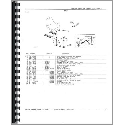 John Deere 112 Lawn & Garden Tractor Parts Manual (250,001