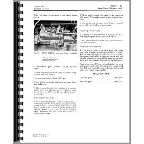 John Deere 2040 Tractor Service Manual (S/n 100,001-349,999)