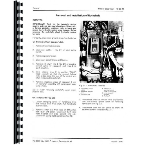 John Deere 2140 Tractor Service Manual (Includes 3 Volumes)