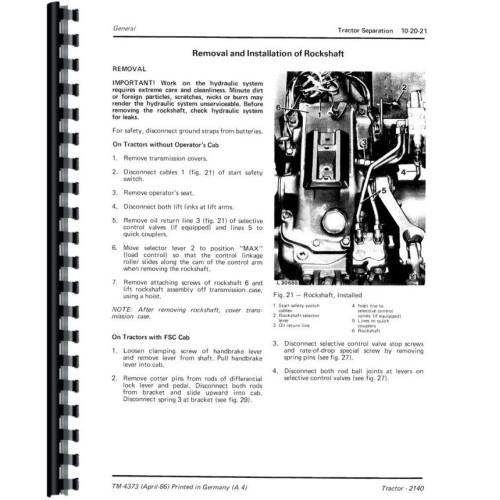 John Deere 2140 Tractor Service Manual (Includes 3 Volumes)