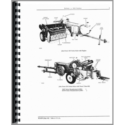 John Deere 224 Baler Parts Manual