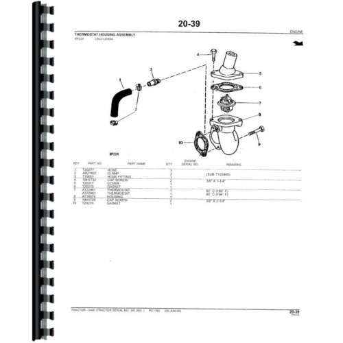 John Deere 2440 Tractor Parts Manual (Sn 341,000 & Up