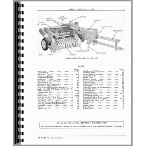 John Deere 24T Baler Parts Manual (Twine-Tie Baler)