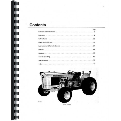 John Deere 301 Industrial Tractor Operators Manual (w/Loader)